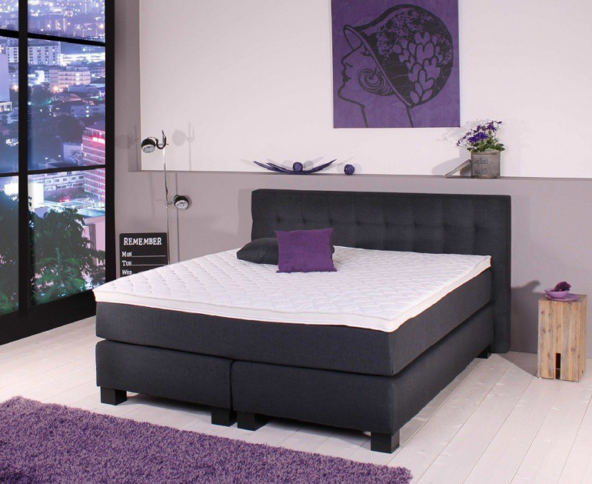 sun garden boxspringbett bx 650 180x200 cm leinen schwarz. Black Bedroom Furniture Sets. Home Design Ideas