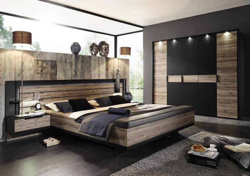 schlafzimmer von steffen ventura in schwarz matt abs eiche sanremo dunkel ebay. Black Bedroom Furniture Sets. Home Design Ideas