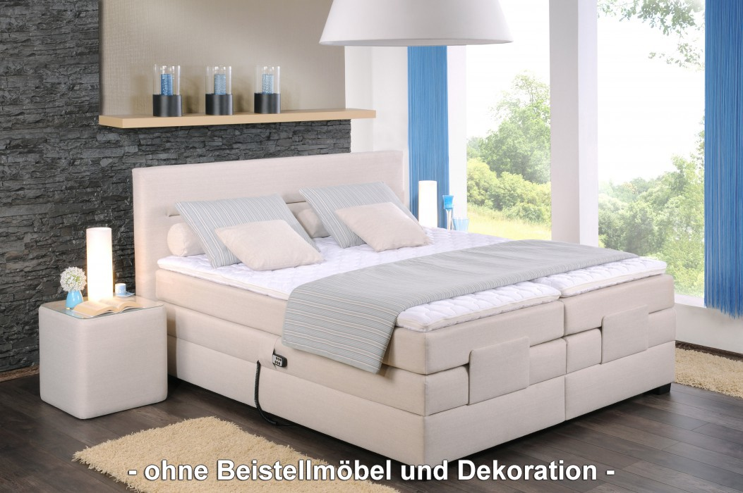 oschmann boxspringbett filou motor 180x200 cm stoff creme h2 h3 schlafen boxspringbetten 180. Black Bedroom Furniture Sets. Home Design Ideas
