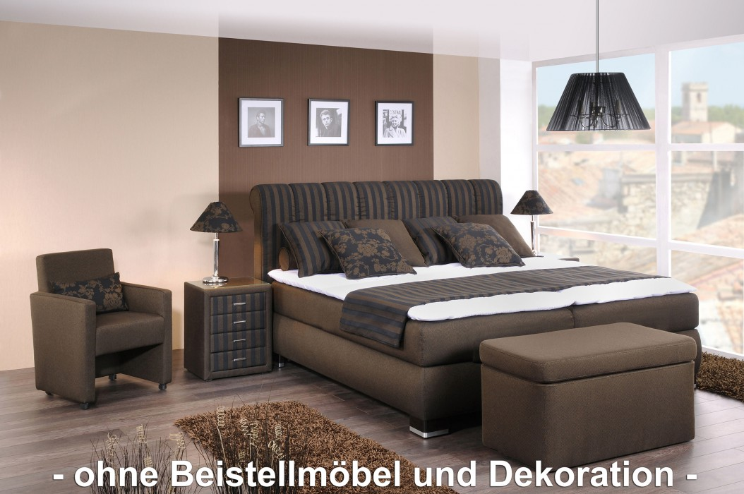 oschmann boxspringbett prestige 180x200 cm stoff braun. Black Bedroom Furniture Sets. Home Design Ideas